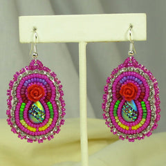 Beaded Pink Earrings - Native Made