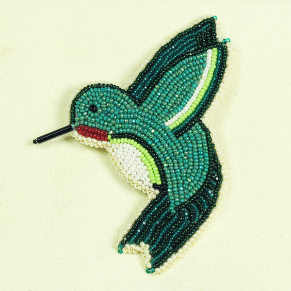 Native American Beaded Teal Hummingbird Pin