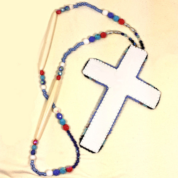 Large Beaded Cross Necklace Purple
