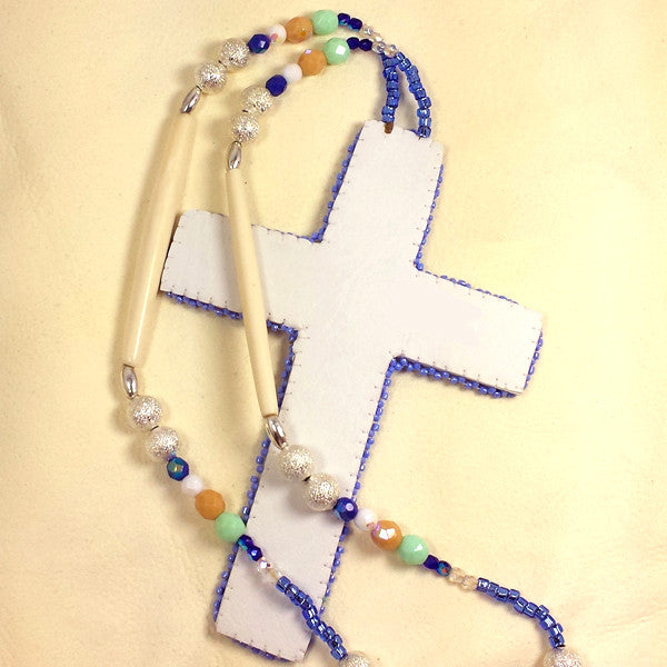 Large Beaded Cross Necklace Lavender