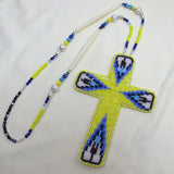 Large Beaded Cross Necklace Yellow