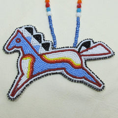 Large Beaded Pony Necklace Light Blue