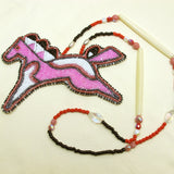 Large Beaded Pony Necklace Pink