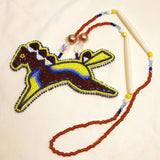 Large Beaded Pony Necklace Yellow & Brown