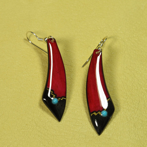 Garnet Red Large Dagger Antler Earrings