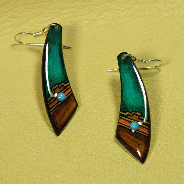 Dagger Antler Earrings - Teal Hand Painted