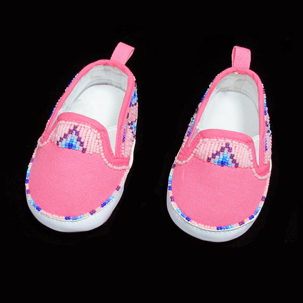 Beaded Girl Pink Moccasins