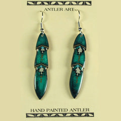 Teal Medium Pony Feather Antler Earrings