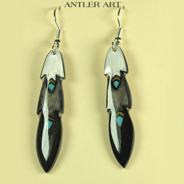 Black Pony Feather Earrings - Hand Painted