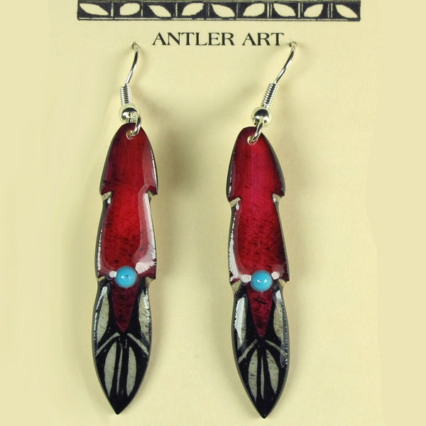 Red Medium Pony Feather Earrings