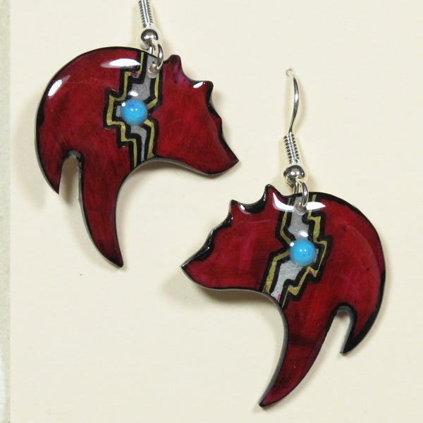 Black Bear Red Antler Earrings - Hand Painted