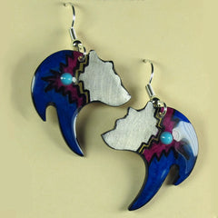 Black Bear Antler Blue Earrings - Hand Painted