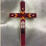 Beaded Cross Necklace Pendant Deep Pink