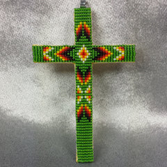 Beaded Cross Necklace Pendant Iridescent Green