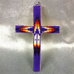 Beaded Cross Necklace Pendant Iridescent Purple