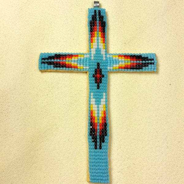 Beaded Cross Necklace Pendant Turquoise