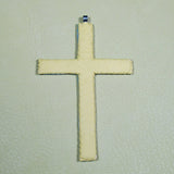 Beaded Cross Necklace Pendant Iridescent Grey