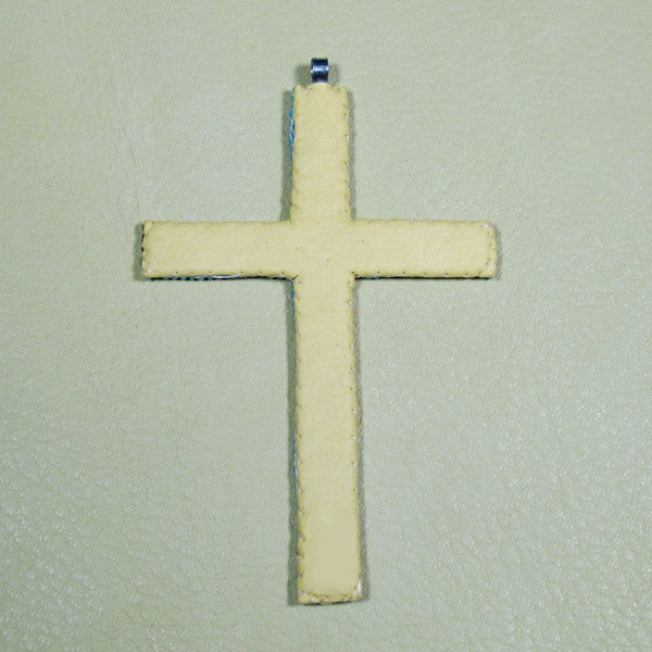 Sm Beaded Cross Necklace Pendant - Iridescent Cream