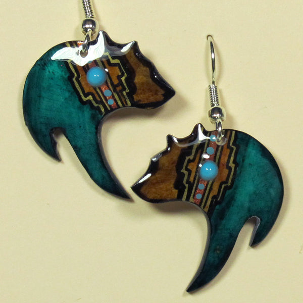 Black Bear Antler Teal Earrings