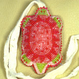 Beaded Turtle Amulet Necklace Pink Coral