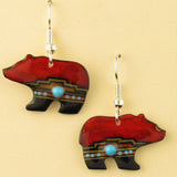 Red Walking Bear Earrings