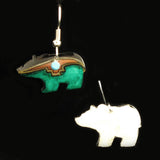 Teal Walking Bear Earrings