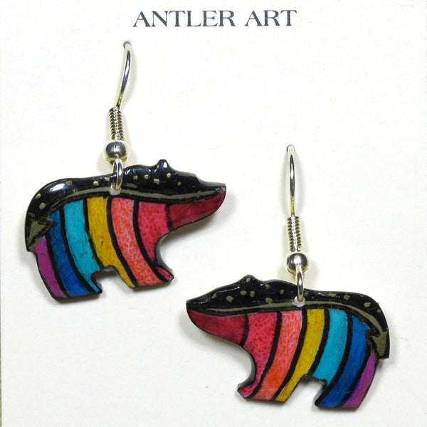Rainbow Walking Bear Antler Earrings