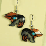 Walking Bear Antler Earrings - Copper Color