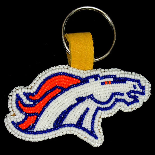 Flat Denver Broncos Beaded Keychain