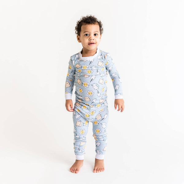 Little Sleepies - Blue Breakfast Buddies Two-Piece Bamboo Pajama Set
