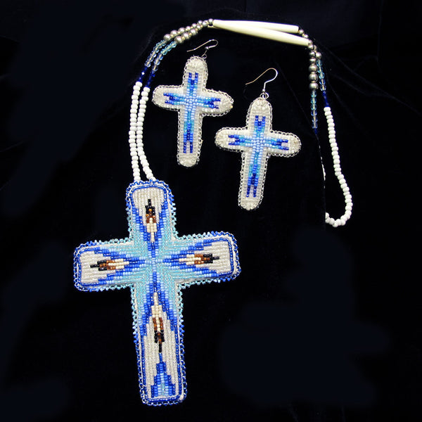 Large Beaded Cross Earrings