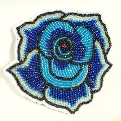 Native American Beaded Rose Pin Blue