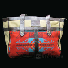 Pendleton Canvas & Wool Satchel - Red & Blue