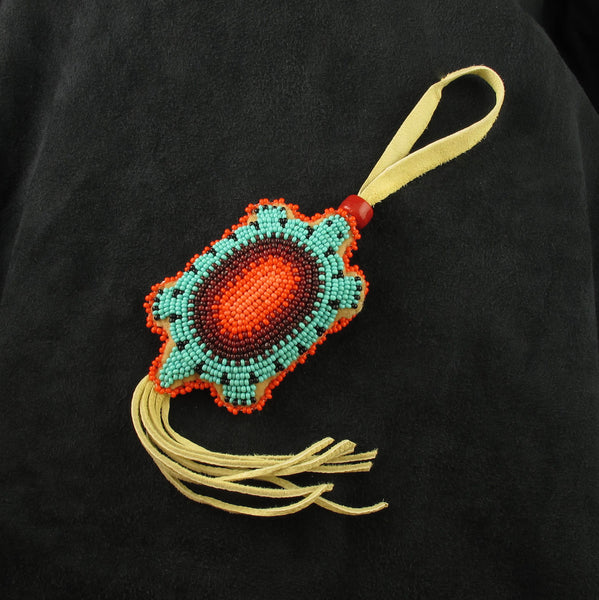 Fringed Beaded Turtle Amulet