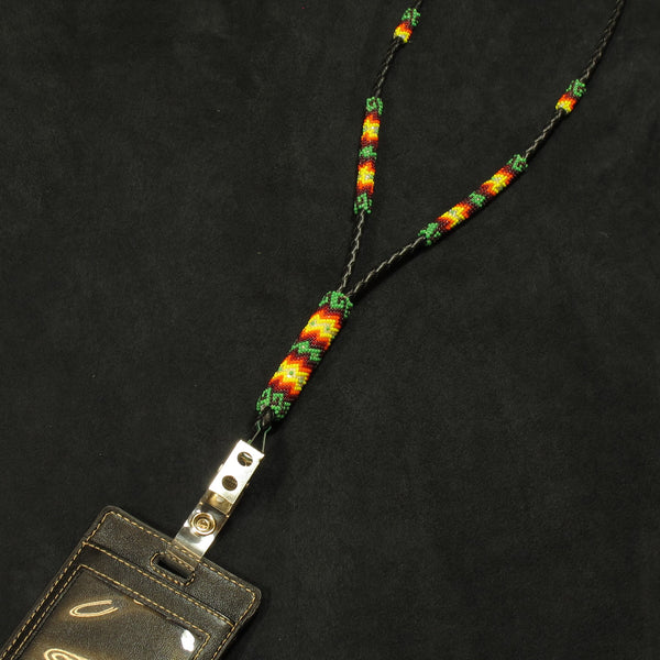 Green Partially Beaded Lanyard