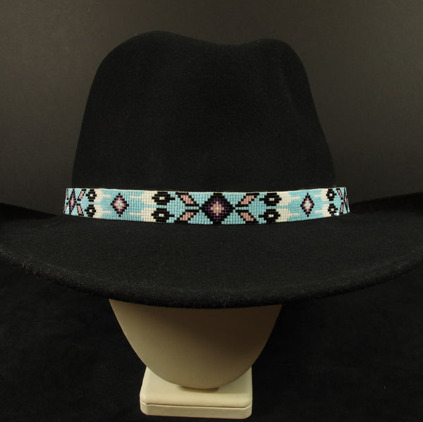 Beaded Hatband Baby Blue Native American