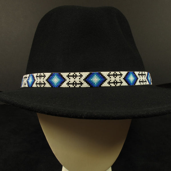Blue And White Beaeded Hat Band