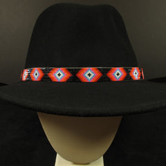 Black And Pink Beaded Hatband