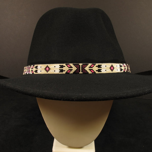 Pink And White Beaded Hat Band