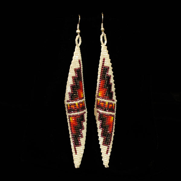 Double Pyramid Earrings - White - Native Made