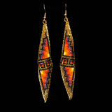 Double Pyramid Earrings - Brown