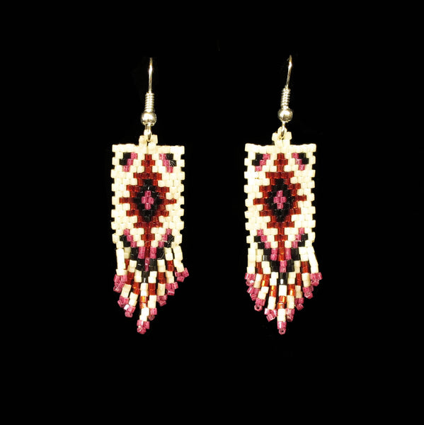 White Beaded Rug Earrings