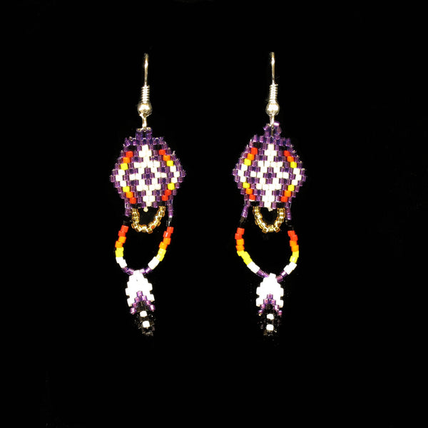 Purple Beaded Dangling Turtles