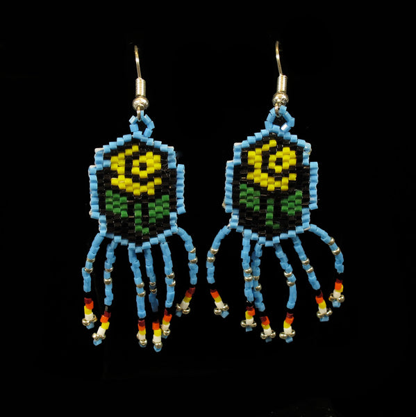 Yellow Rose Beaded Earrings