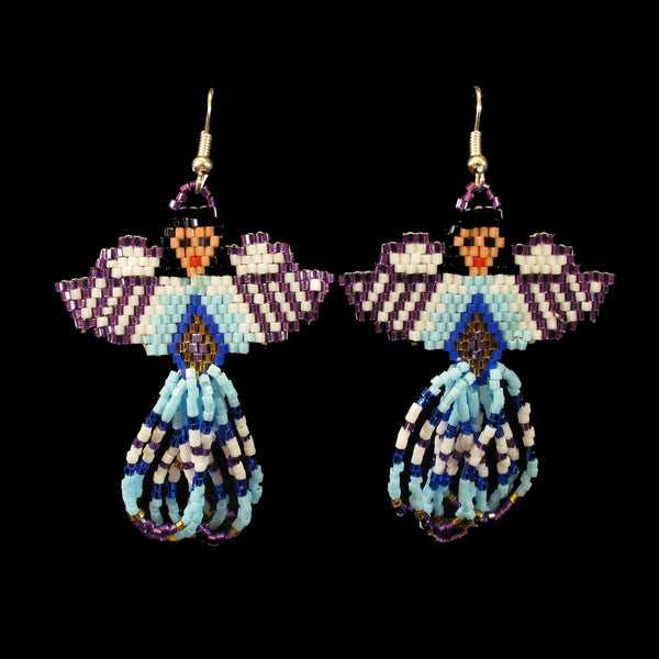 Purple Angel Beaded Earrings