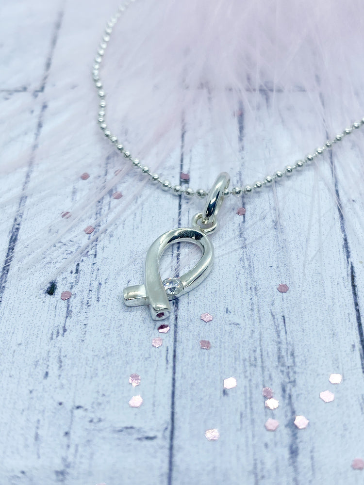 Sterling Silver ribbon pendant - Eve and Flamingo