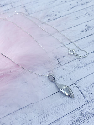 Sterling silver leaf pendant - Eve and Flamingo