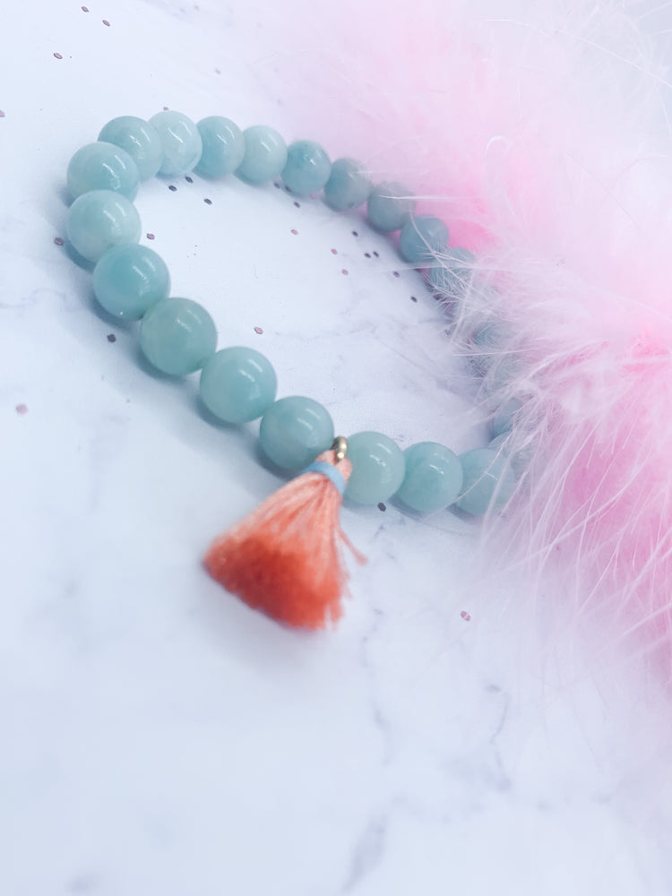 Amazonite Semi-Precious bracelet with Silk tassel - Eve & Flamingo