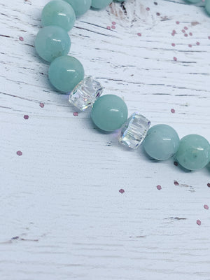 Amazonite Semi-Precious bracelet with Swarovski Ab crystal beads - Eve & Flamingo