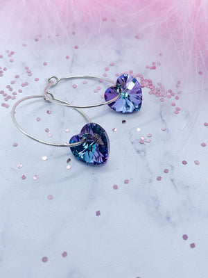 Hoop Earrings with rhinestone heartl - Eve & Flamingo